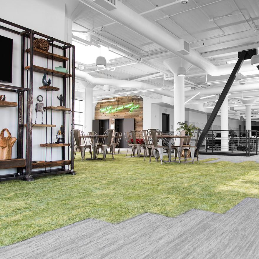 Interior design for HealthTap offices in San Francisco by interior designer Dana Ben Shushan, Dana Design Studio including custom shelving for seating area