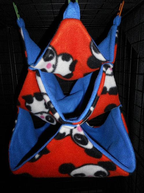 Pandas on Orange on Dark Blue Large Bunker Hammock