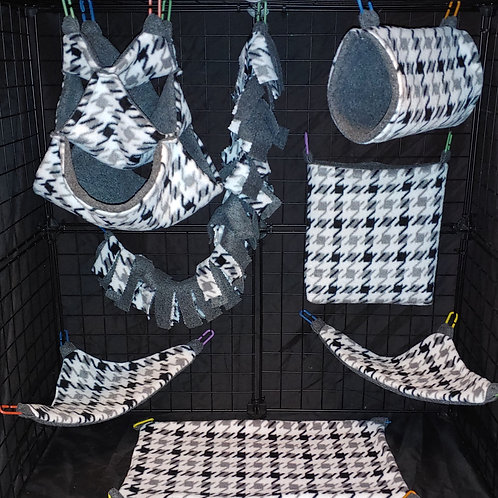 Grey/Black Houndstooth Cage Set