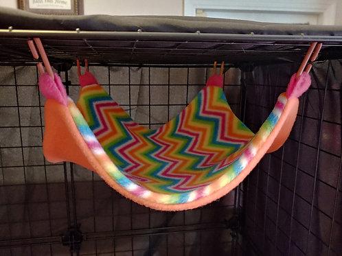 "Rainbow Zig Zags on Orange 12""x12"" Hammock"