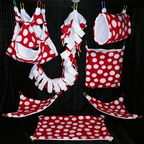 Red & White Polka Dots Cage Set