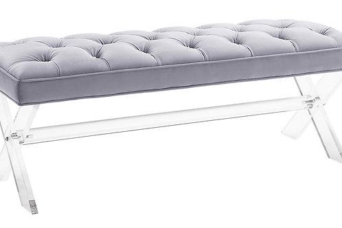 Claira Grey Lucite Bench