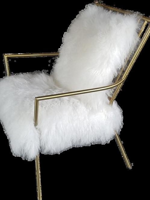 Ansel Brass Tibetan Fur Chair