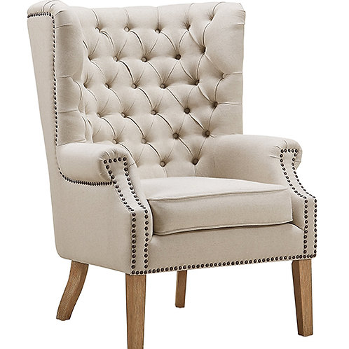 ABE Beige Linen Wing Chair