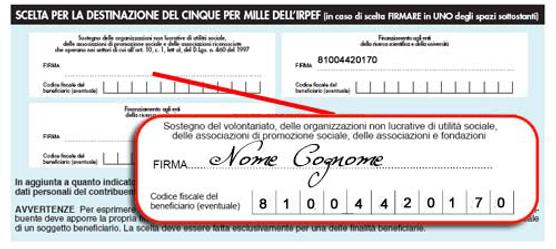 Fac simile per donazione 5x1000 Fondazione villa Zani