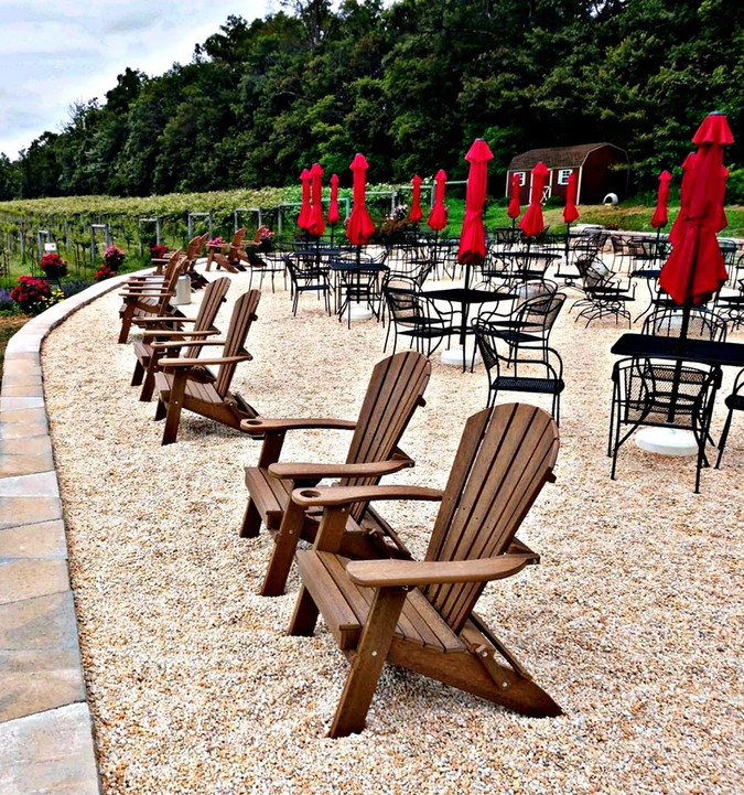 Enjoy our Adirondack chairs or grab a table while you visit!