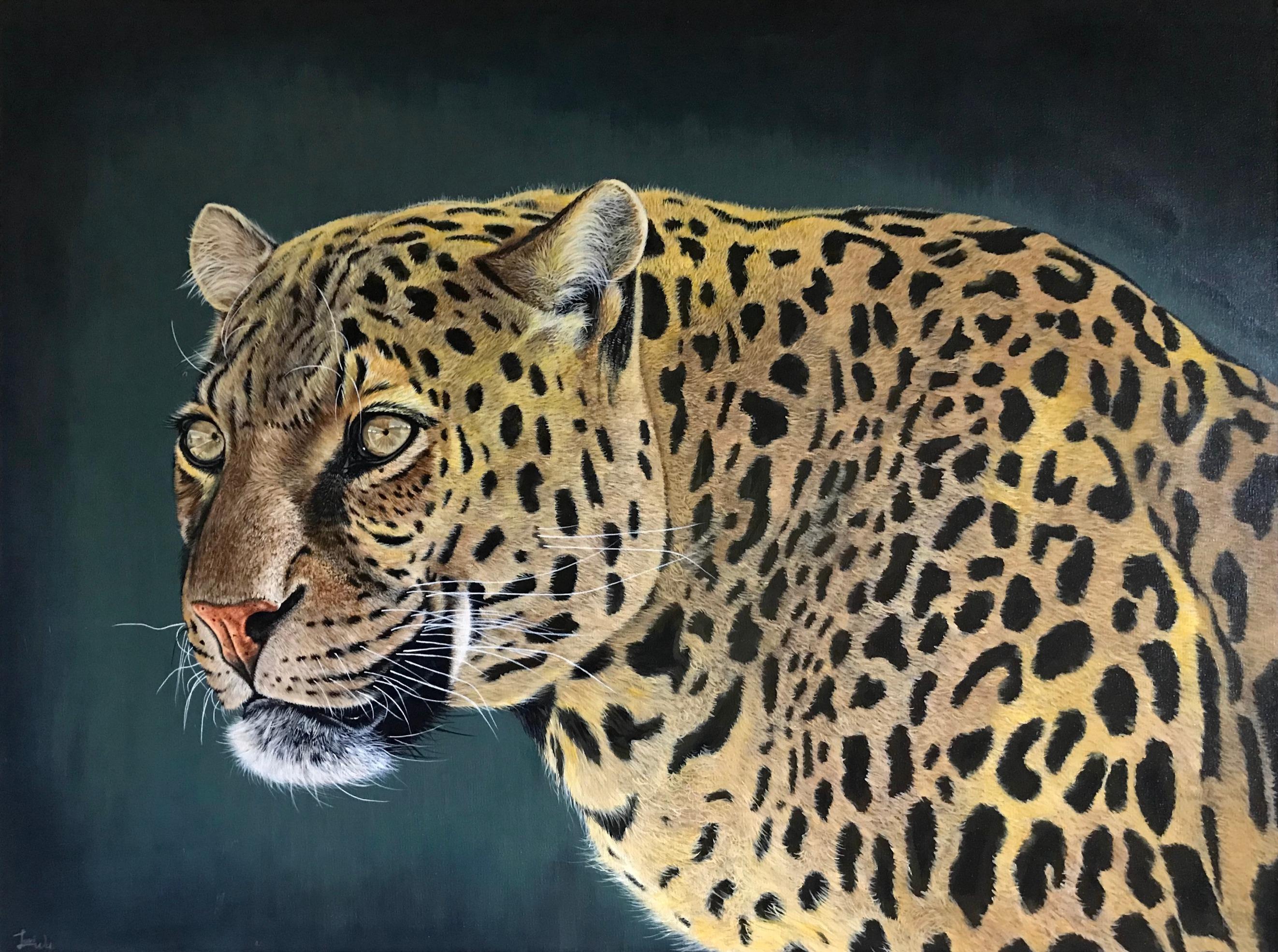 """Jaguar 30"""" x 40"""" Acrylic - Available"""