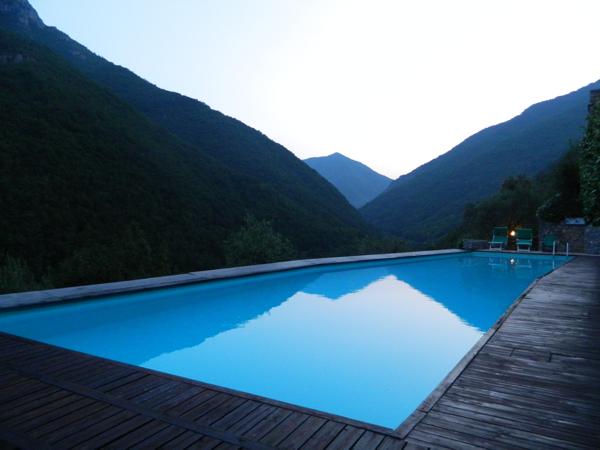 The magic swimming pool at sunset