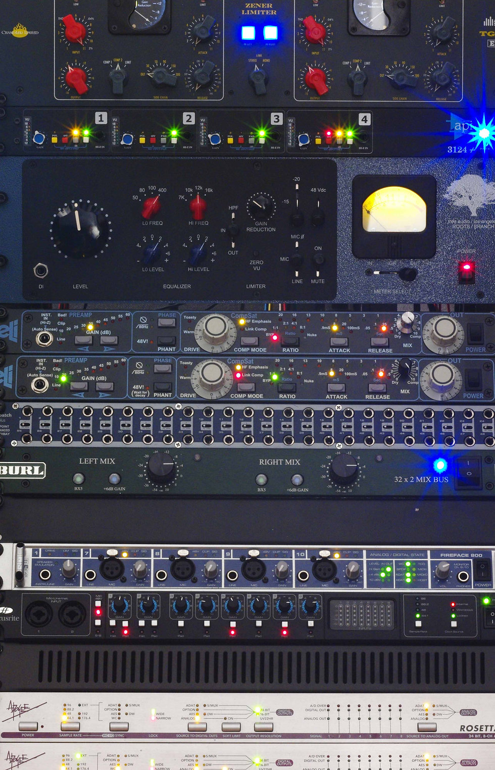 outboard Frigo Studio, chandler zener, mike-e, the branch, burl b32, rosetta, api 3124+