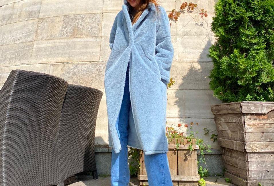 Reversible coat MARGO sky blue