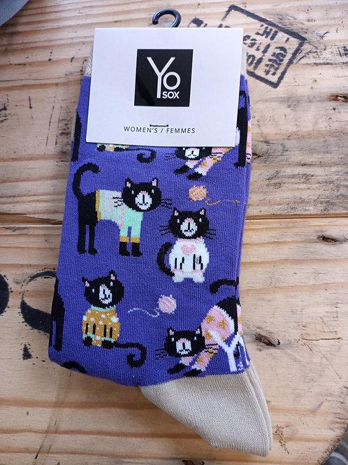 Women's Socks - Purple Socks with Cats