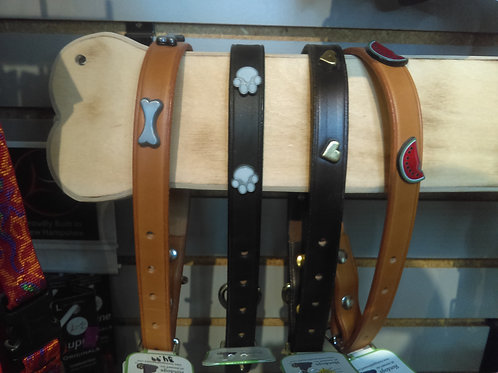 Hot Dogs All Dressed Leather Collar MD size 20