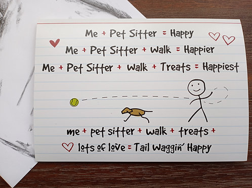 Greeting Card - Pet Sitter Thank-you