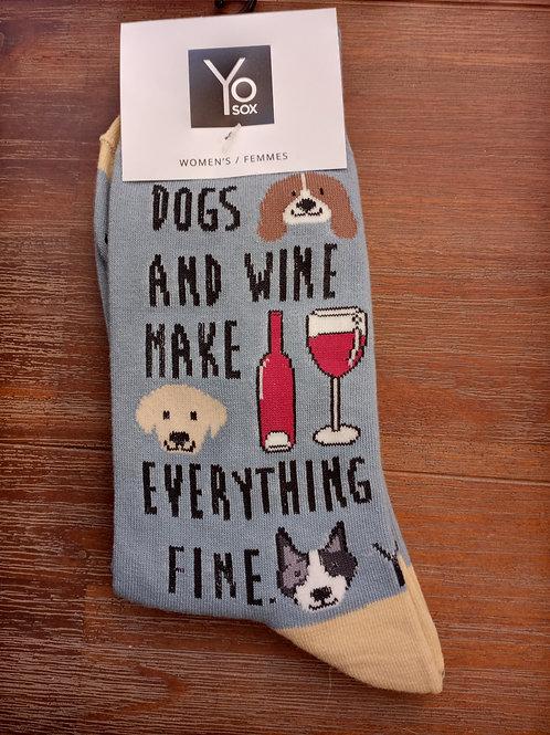 Women's Socks - Dogs and Wine