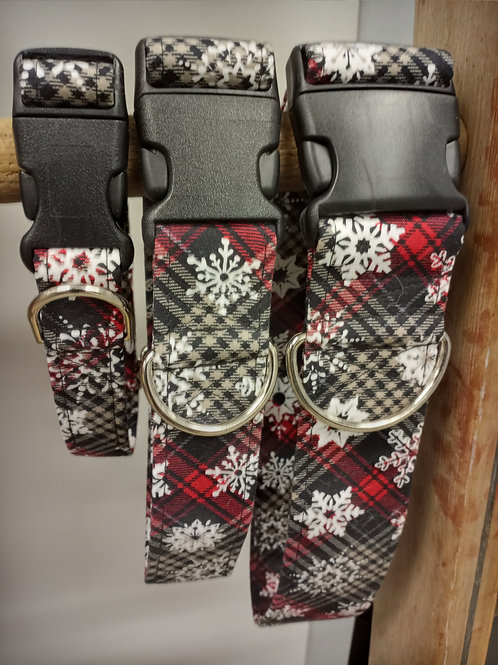 Barkenstein Design Adjustable Collars - Snowflakes on Plaid