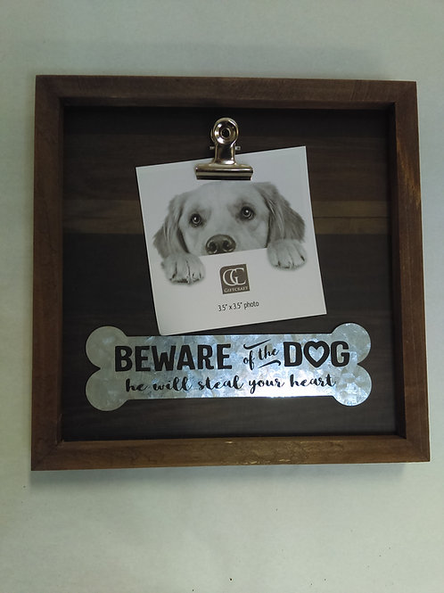 "Frame ""Beware of Dog, He will steal your heart"""