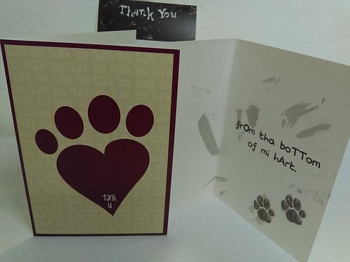 Greeting Card - Thank-you - Pawprint