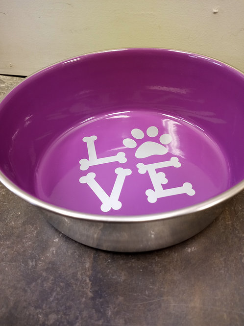 Stainless Steel Food Bowls - LOVE