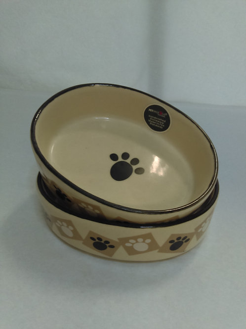 Small Oval Cat Food Dish - Ceramic