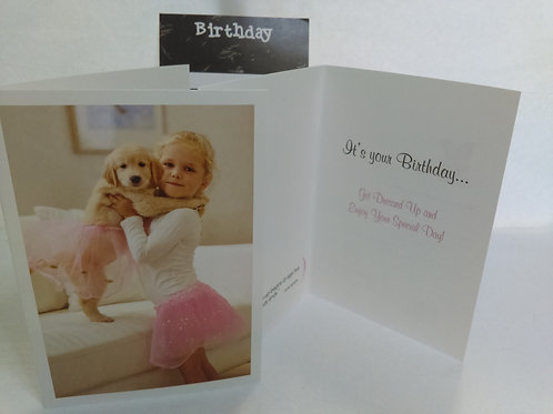 Greeting Card - Birthday - Girl and Puppy