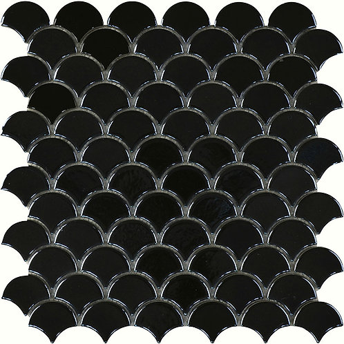 Black Gloss Fish Scale Mosaic