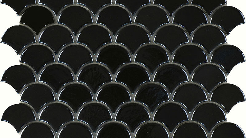Black Gloss Fish Scale Mosaic