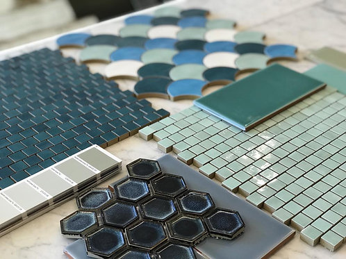 Concave Blue Gloss Hexagon Mosaic 40mm