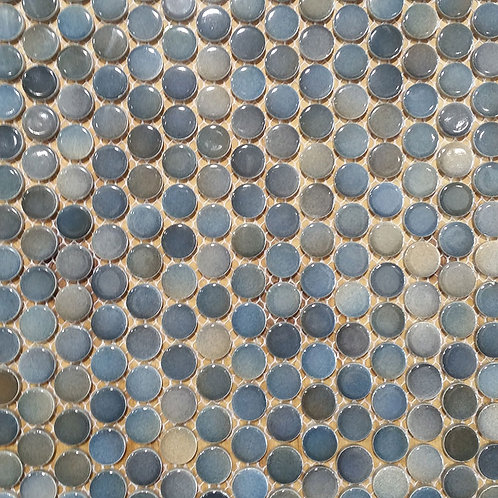 Mixed Blue Penny Round Mosaic