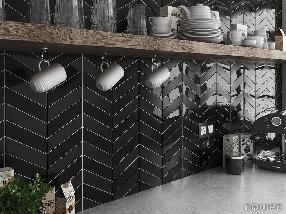 Chevron black matt kitchen