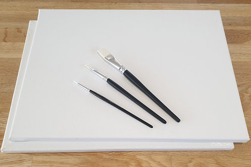 Canvas and Paintbrushes Package