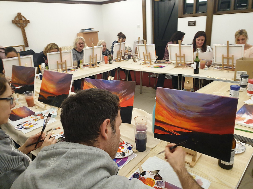 Eze Ettoile art and sip paint and sip paint n sip art class art teacher artist art session chelmsford essex painting class