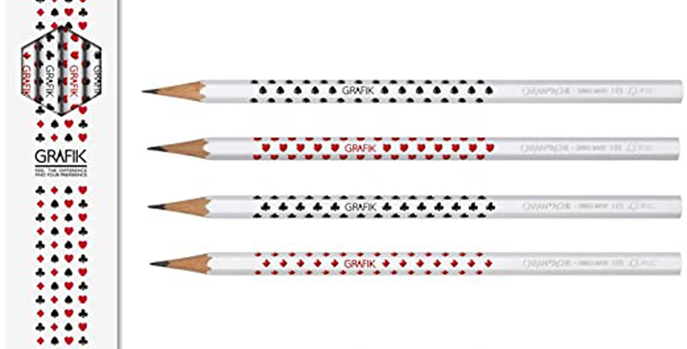 Caran d'Ache Wooden Pencil Grafik, 4 Pencil Card+Eraser
