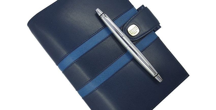Cross Leather 1846 Co/Ag Blue Agenda With Pen