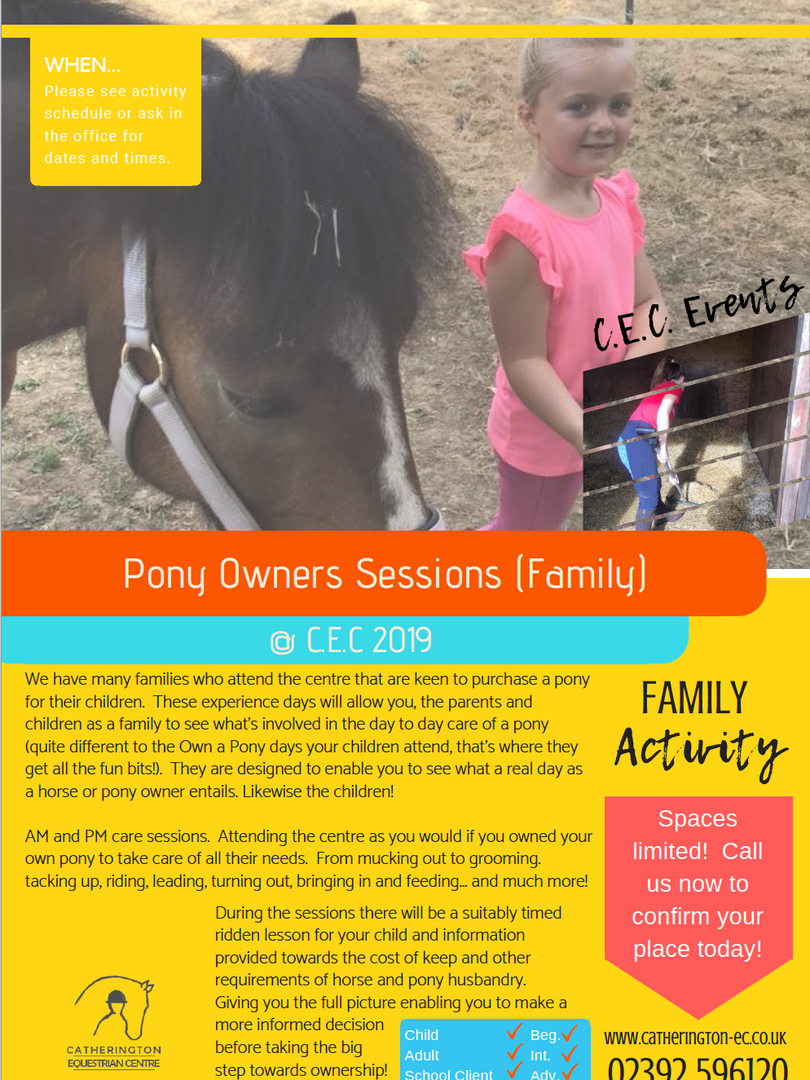 Own A Pony Day Info Sheet