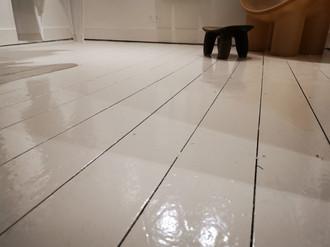 Painting floor of shop