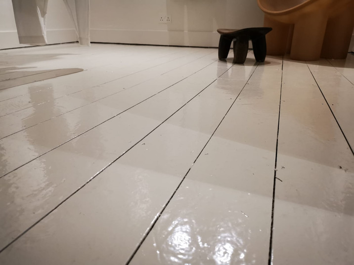 Painting floor of shop