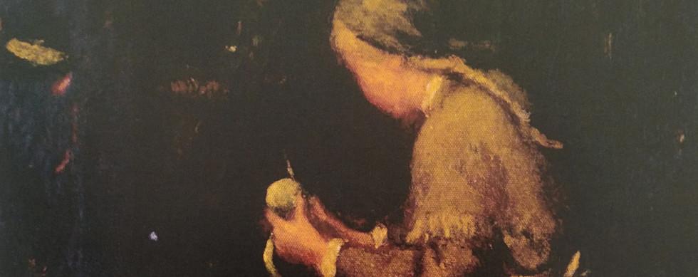 Mulher descascando fruta