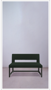 Green Velvet Rectangle Bench with Black Lacquered Frame - £3,250