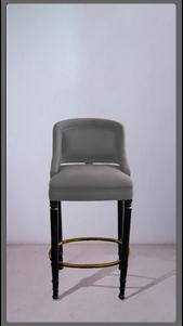Grey Velvet Stool with Black Lacquered Legs - £2,375