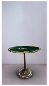 Green Marble Round Top Table with Burnished Steel Base - £8,750