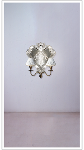 Mirrored Wall Sconce with Fretted Shades - £975