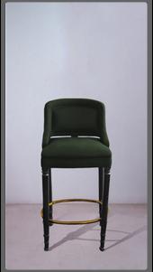 Green Velvet Stool with Black Lacquered Legs - £2,375