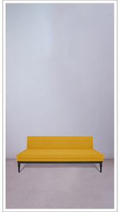 Yellow Velvet Banquette with Black Lacquered Legs - £3,250