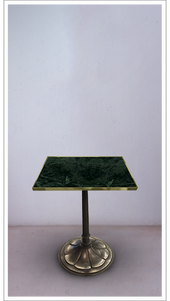 Green Marble Square Top Table with Burnished Steel Base - £7,750