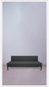 Grey Velvet Banquette with Black Lacquered Legs - £3,250