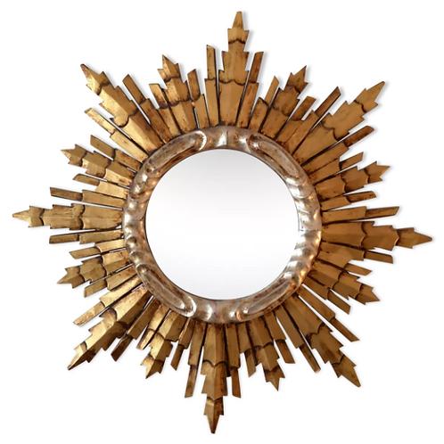 Miroir soleil doré et argenté