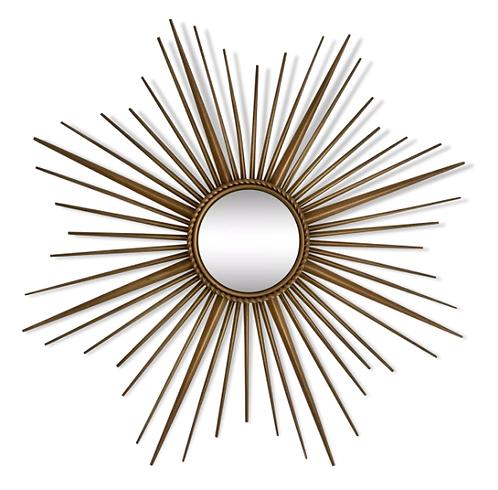 Chaty Vallauris, Miroir soleil, miroir sorcière, miroir métal doré