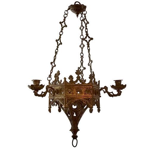 Lustre néo-Gothique en bronze doré