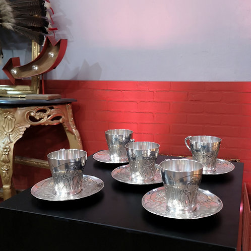 Eugene Lefebvre, tasses en argent art nouveau trefle
