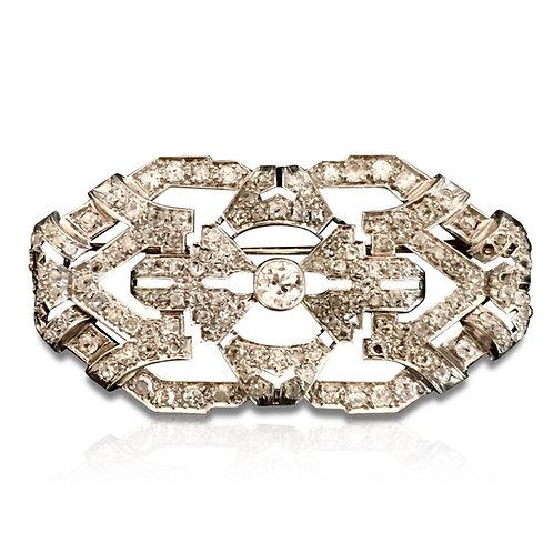 Broche plaque Art Déco en platine et diamants